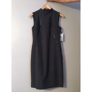 Charcoal high-neck zipper pencil dress